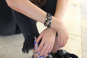 Silvered Striped Indie Bracelet - SEA Smadar Eliasaf
