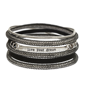 Black & Silver Live Your Dream bracelet - SEA Smadar Eliasaf