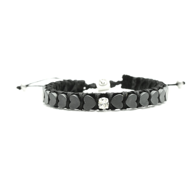 Single Inlay Heart Beats Bracelet - black