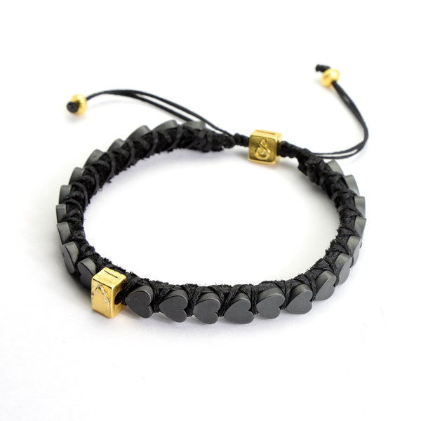 Dark Grey Hearts Bracelet