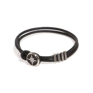 Double Leather Bracelet - Silver Star - SEA Smadar Eliasaf