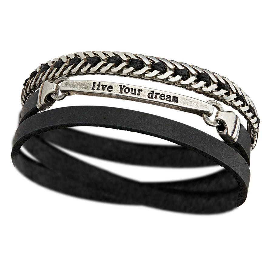Men's LIVE YOUR DREAM Bracelet with Black String Design - SEA Smadar Eliasaf