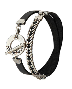 Men's JUST BELIEVE Bracelet - Black - SEA Smadar Eliasaf