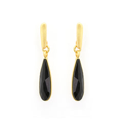 Black Crystal Drop Earrings - SEA Smadar Eliasaf