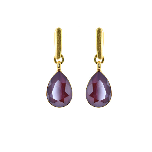 Bordeaux Tear Drop Earrings - SEA Smadar Eliasaf