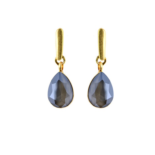 Dark Grey Tear Drop Earrings