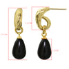 Black Drop Earrings 24k Gold Plated