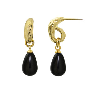 Black Drop Earrings 24k Gold Plated - SEA Smadar Eliasaf