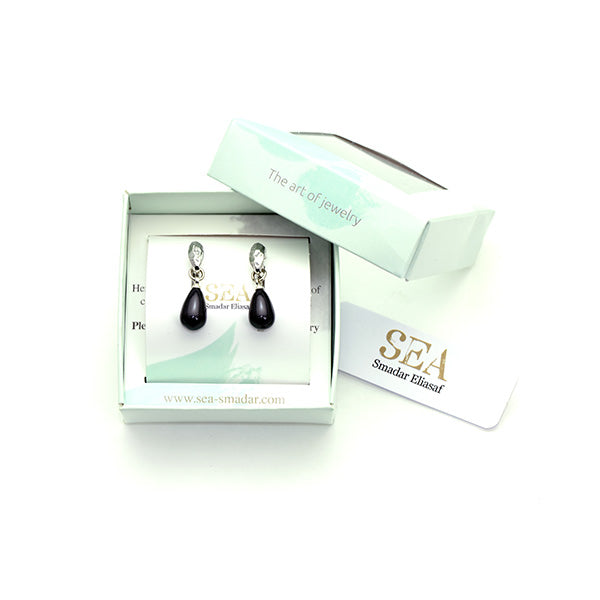 Black Drop Earrings Silver Plated - SEA Smadar Eliasaf