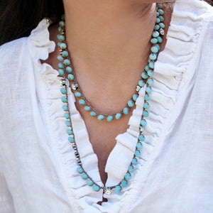Long Amazonite and Silver Plated Necklace - SEA Smadar Eliasaf