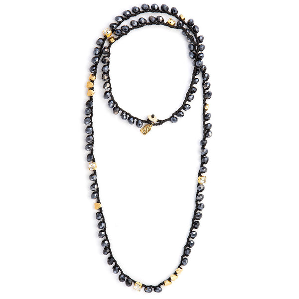 Long Black & Blue Crystals  Necklace