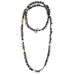 Long Black & Blue Crystals  Necklace - SEA Smadar Eliasaf