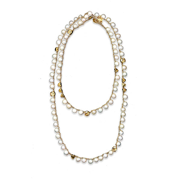 Long Pearl Gold Plated Necklace - SEA Smadar Eliasaf