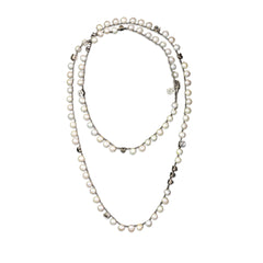 Long Pearl and Silver Plated Necklace - SEA Smadar Eliasaf