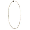 Long Pearl and Silver Plated Necklace