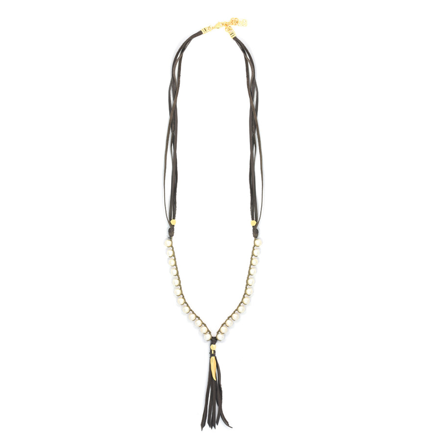 Multistrand leather and pearls necklace - SEA Smadar Eliasaf