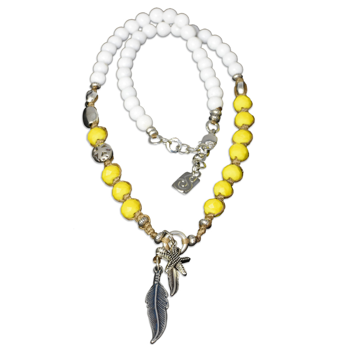 White Yellow Seychelles Necklace - SEA Smadar Eliasaf