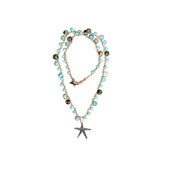 Short knitted Torquise Necklace - SEA Smadar Eliasaf