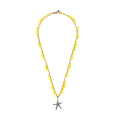 Short knitted Yellow Necklace - SEA Smadar Eliasaf