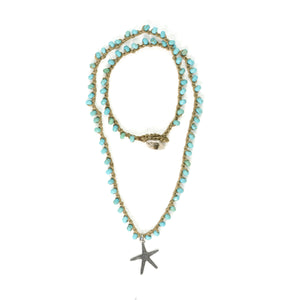 Short knitted torqouise Necklace - SEA Smadar Eliasaf