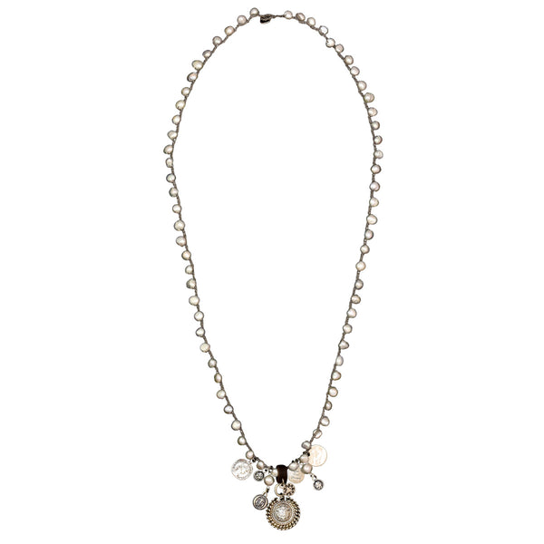 Knitted Grey Pearl necklace - SEA Smadar Eliasaf