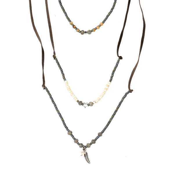 Long layerd leather necklace