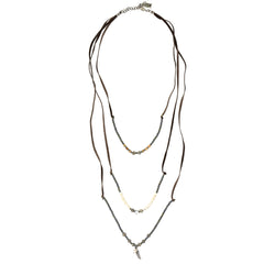 Long layerd leather necklace - SEA Smadar Eliasaf