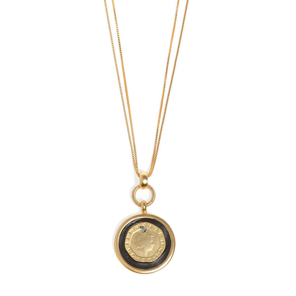Golden Alexander Necklace with Coin Pendant