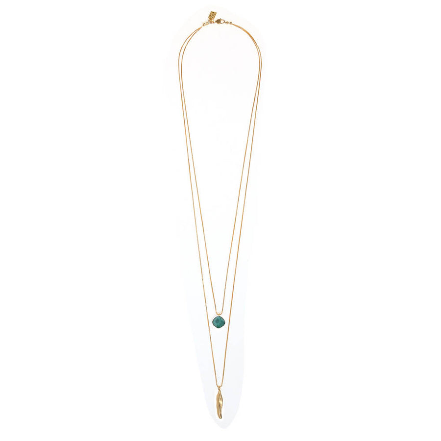 Two Layers Necklace Turquoise Crystal Pendant - SEA Smadar Eliasaf