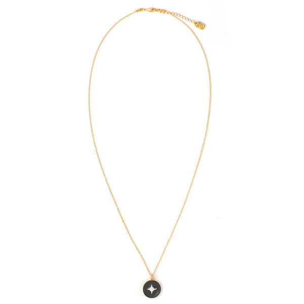 Black Spark Coin Necklace