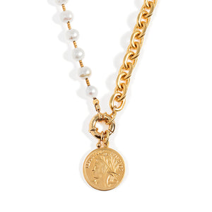 Short Pearls and Coin Necklace - SEA Smadar Eliasaf