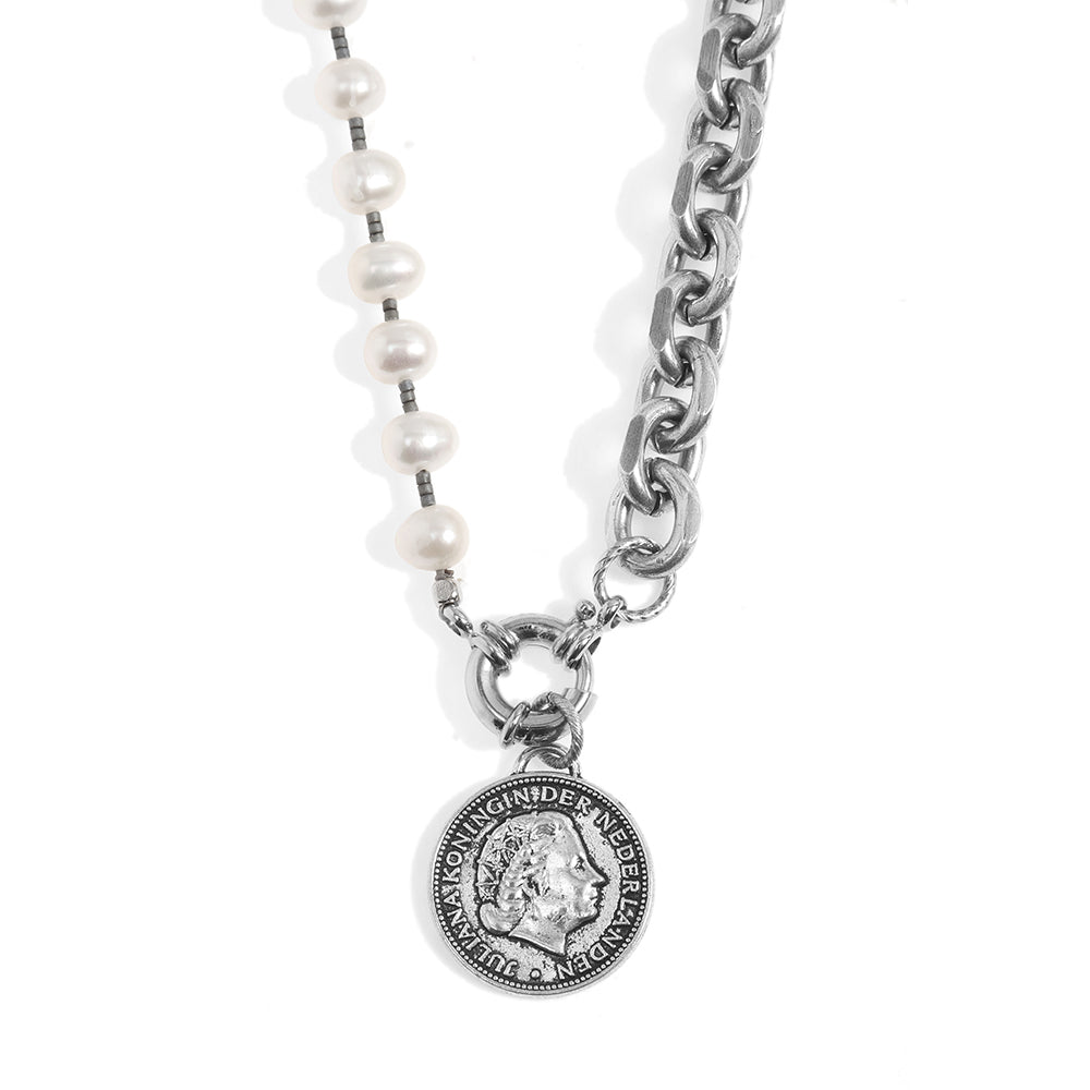 Short Pearls and Coin Necklace - Silver-Plated - SEA Smadar Eliasaf