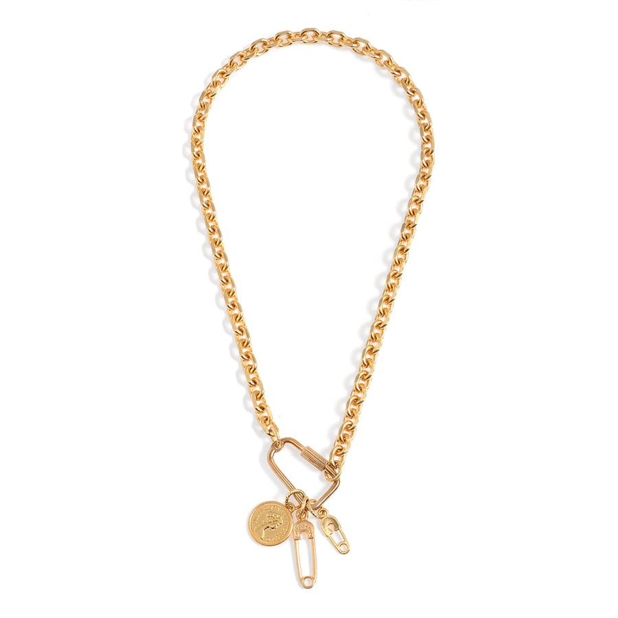 Golden Necklace with Safety Pins Pendant - SEA Smadar Eliasaf