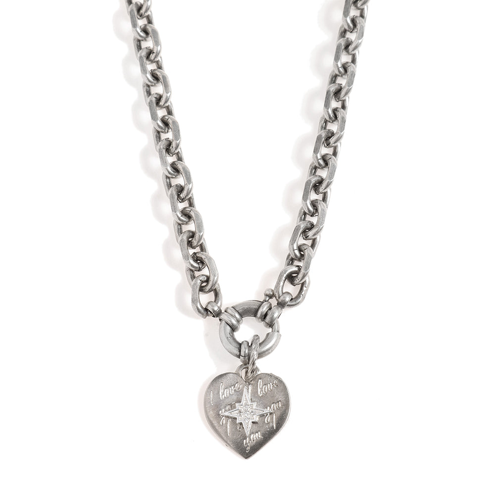 Blackened Silver Necklace with a Heart Pendant - SEA Smadar Eliasaf
