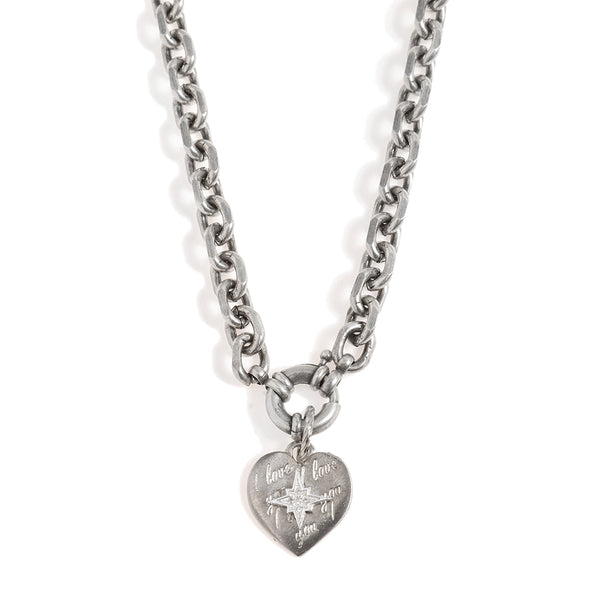 Blackened Silver Necklace with a Heart Pendant