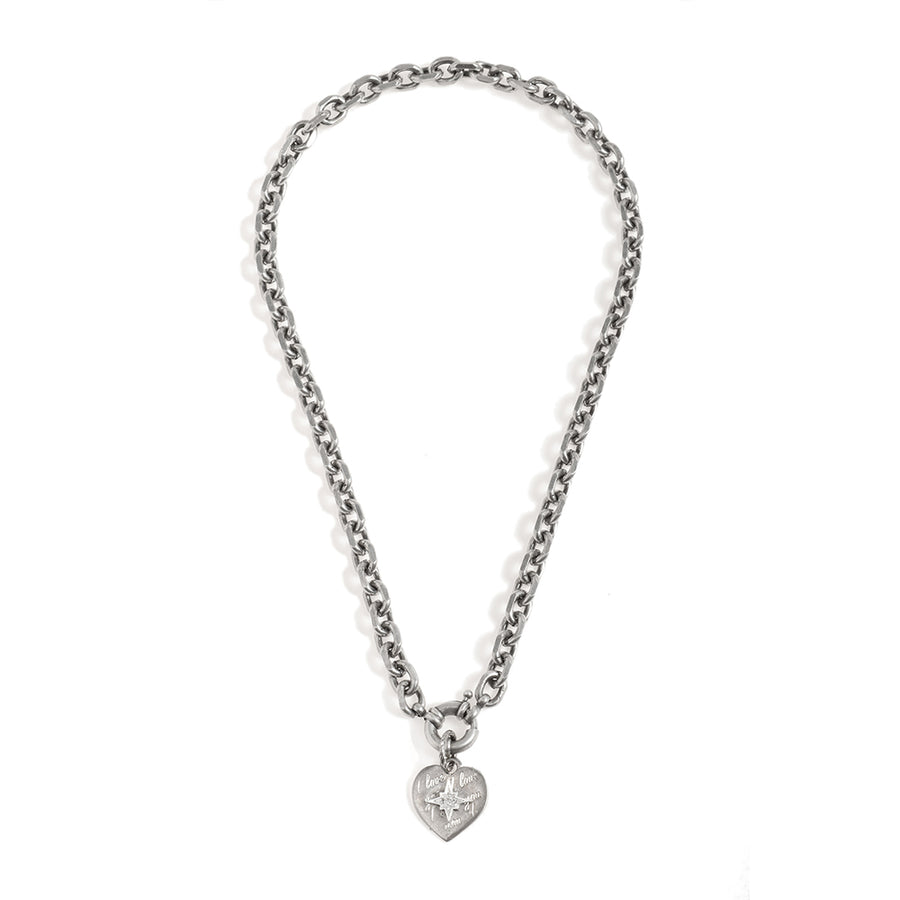 Short  Heart Pendent Necklace - Silver-Plated - SEA Smadar Eliasaf
