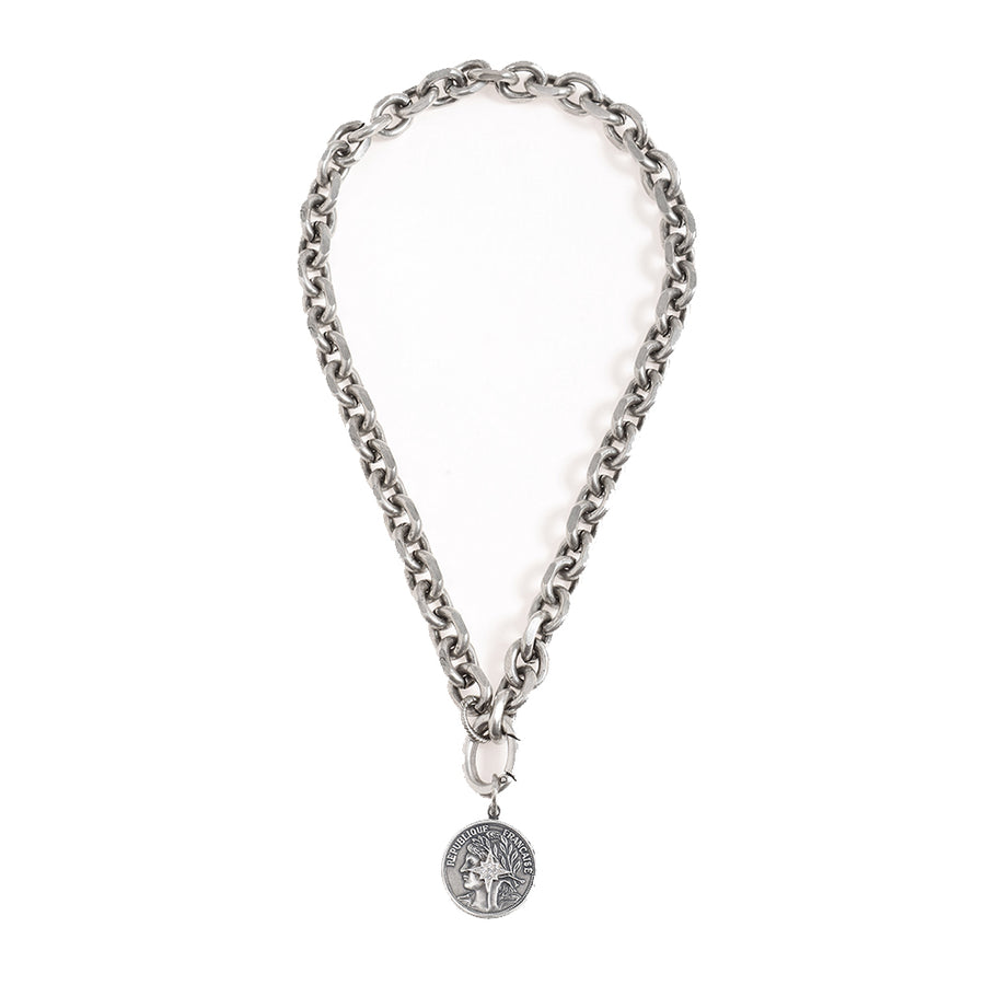 Rihanna Blackened Silver Necklace with a Coin Star Pendant - SEA Smadar Eliasaf