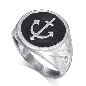 925 Silver Anchor Signet Ring - SEA Smadar Eliasaf