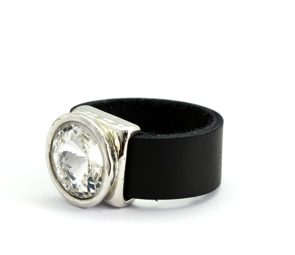 Crystal and leather silver plated ring - SEA Smadar Eliasaf