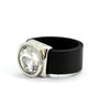 Crystal and leather silver plated ring