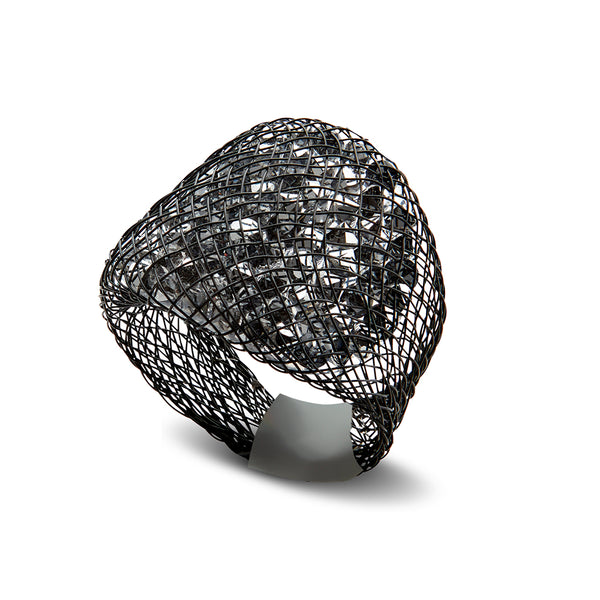 Silver Crystal Spark Ring