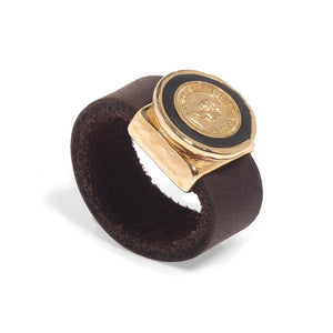 Brown Leather Ring with Coin Design - SEA Smadar Eliasaf