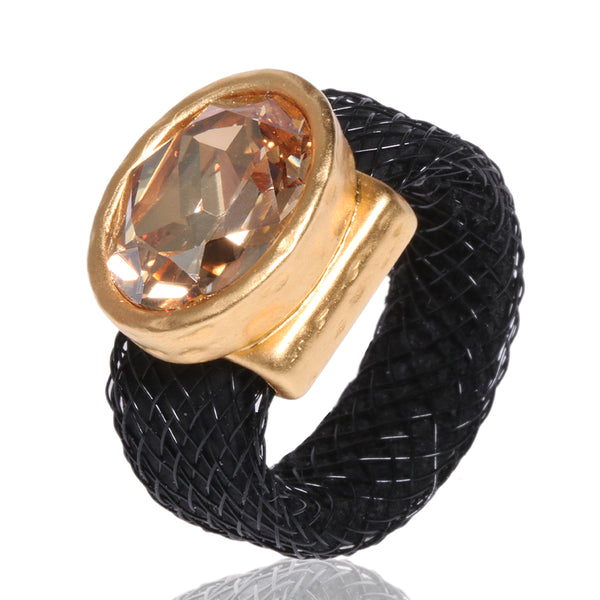 Golden Swarovsky Silicone & Mesh  Ring