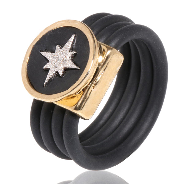 Star Silicone Stripes Ring