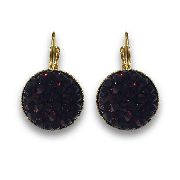 Dark Red Crystal Rocks Earrings