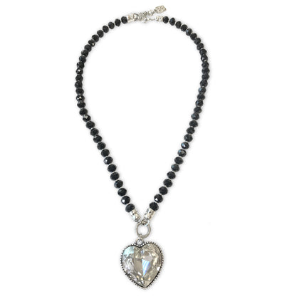 Splasg Black Crystals Necklace - Clear