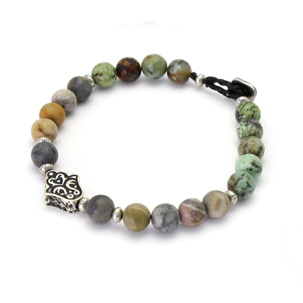 Shades of green Hamsa bracelet