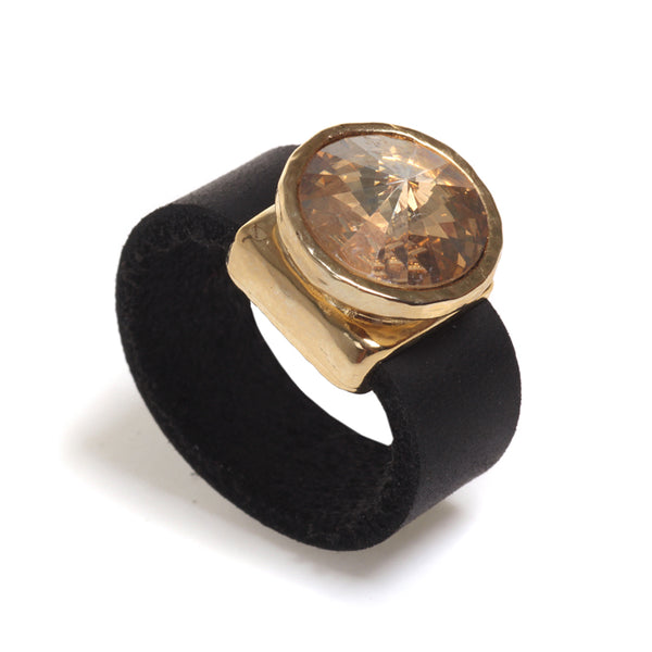Golden Crystal and leather ring