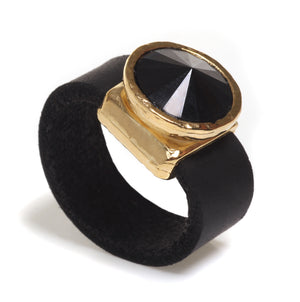 Leather Black Crystal Ring - SEA Smadar Eliasaf