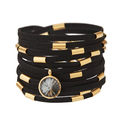 Wrap Around Black Suede Bracelet Necklace